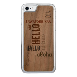 "Multilingual ""Hello"" Wood Case- Earthtone Carved iPhone 7 Case"