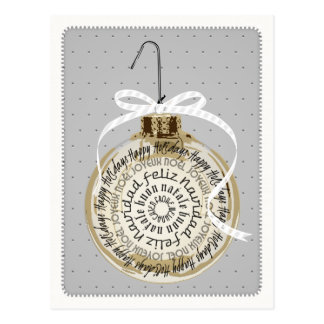 Multilingual Holiday Ornament Typography Postcard