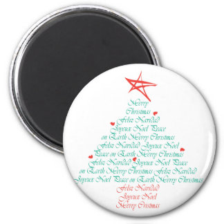 Multilingual Merry Christmas! 2 Inch Round Magnet