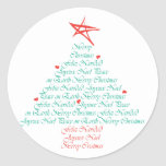 Multilingual Merry Christmas! Classic Round Sticker