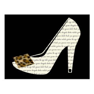 Multilingual Thank You Leopard Print Shoe Postcard