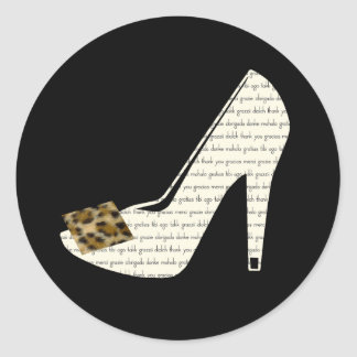 Multilingual Thank You Leopard Print Shoe Stickers