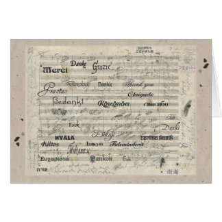 Multilingual Thank You Music Score Card