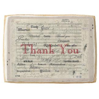 Multilingual Thank You Music Score Shortbread Cookie