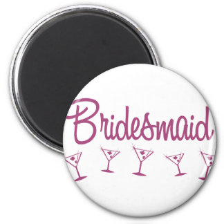 MultiMartini-Bridesmaid-Pink 2 Inch Round Magnet