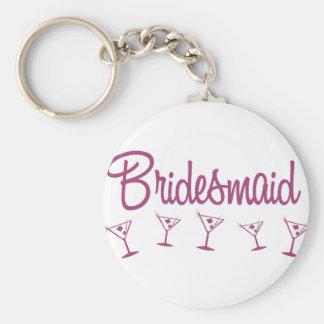 MultiMartini-Bridesmaid-Pink Basic Round Button Keychain