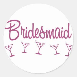 MultiMartini-Bridesmaid-Pink Classic Round Sticker