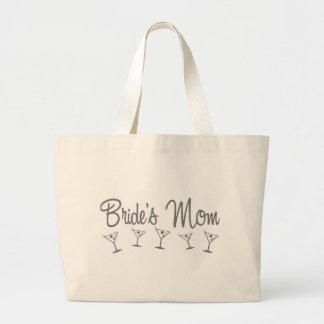 MultiMartini-BridesMom-grey Large Tote Bag