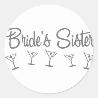 MultiMartini-BridesSister-grey Round Stickers