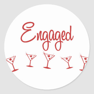 MultiMartini-Engaged-Red Classic Round Sticker