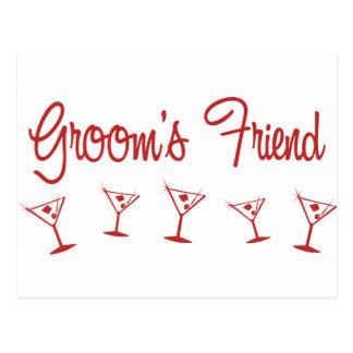 MultiMartini-GroomsFriend-Red Postcard