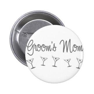 MultiMartini-GroomsMom-grey Pinback Button