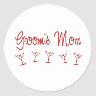 MultiMartini-GroomsMom-Red Classic Round Sticker