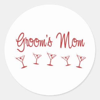 MultiMartini-GroomsMom-Red Round Stickers