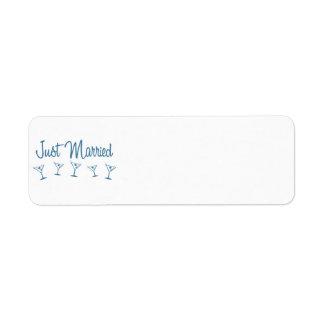 MultiMartini-JustMarried-Blue Return Address Label