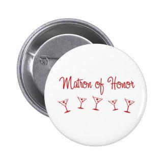 MultiMartini-MatronHonor-Rojo Pin Redondo De 2 Pulgadas