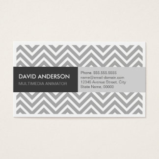 Multimedia Animator - Modern Grey Chevron Business Card
