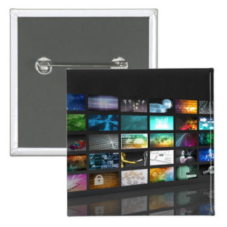 Multimedia Background for Digital Network 2 Inch Square Button