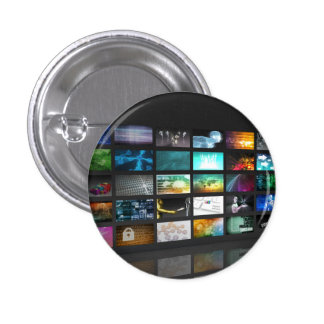 Multimedia Background for Digital Network 1 Inch Round Button