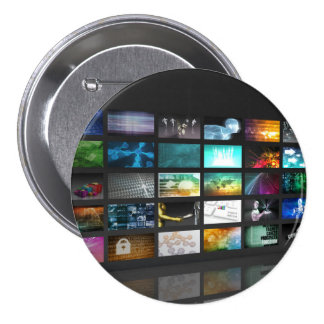 Multimedia Background for Digital Network 3 Inch Round Button