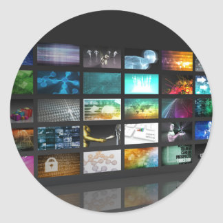 Multimedia Background for Digital Network Classic Round Sticker