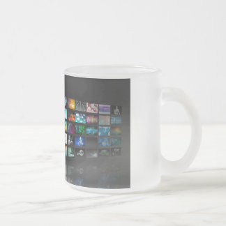 Multimedia Background for Digital Network Frosted Glass Coffee Mug