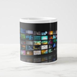 Multimedia Background for Digital Network Giant Coffee Mug