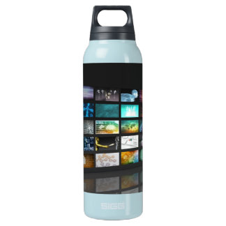 Multimedia Background for Digital Network Insulated Water Bottle