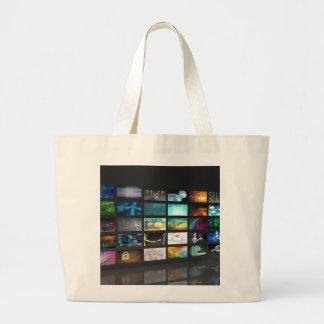 Multimedia Background for Digital Network Large Tote Bag
