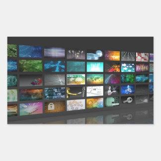 Multimedia Background for Digital Network Rectangular Sticker