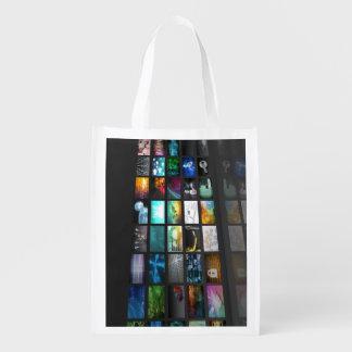 Multimedia Background for Digital Network Reusable Grocery Bag