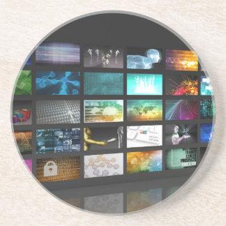 Multimedia Background for Digital Network Sandstone Coaster