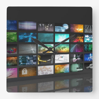 Multimedia Background for Digital Network Square Wall Clock