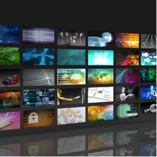 Multimedia Background for Digital Network Statuette