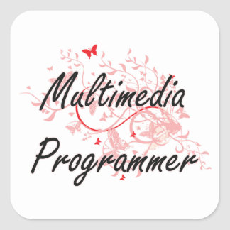 Multimedia Programmer Artistic Job Design with But Square Sticker