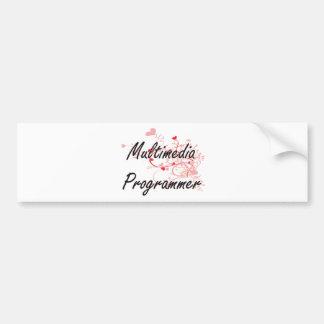 Multimedia Programmer Artistic Job Design with Hea Car Bumper Sticker