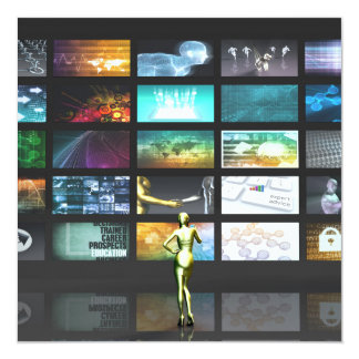 Multimedia Technology with Woman Staring at Screen Card