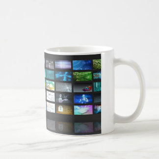 Multimedia Technology with Woman Staring at Screen Coffee Mug