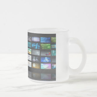 Multimedia Technology with Woman Staring at Screen Frosted Glass Coffee Mug