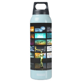 Multimedia Technology with Woman Staring at Screen Insulated Water Bottle