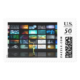 Multimedia Technology with Woman Staring at Screen Postage