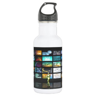 Multimedia Technology with Woman Staring at Screen Stainless Steel Water Bottle