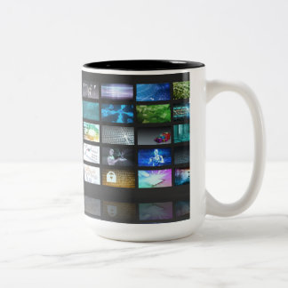 Multimedia Technology with Woman Staring at Screen Two-Tone Coffee Mug