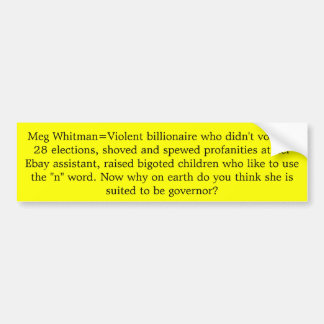 Multimillonario del megohmio Whitman=Violent que n Pegatina Para Auto