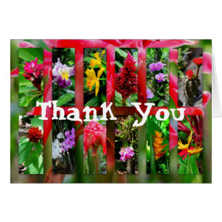 Multipart Pane Tropical Maui Flowers, Thank You Card