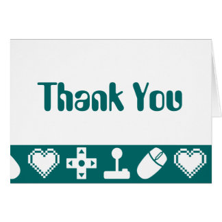Multiplayer Mode in Teal Thank You Card