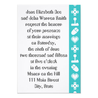 Multiplayer Mode in Turquoise Wedding Invitation