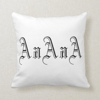 Multiple A Monogram in Black and White I Throw Pillow