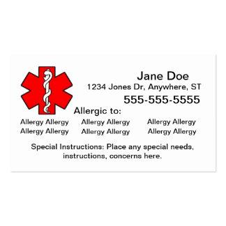 Multiple Allergy Cards - Emergency