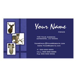 Multiple Animal Taxidermy Business Cards D2 Blue